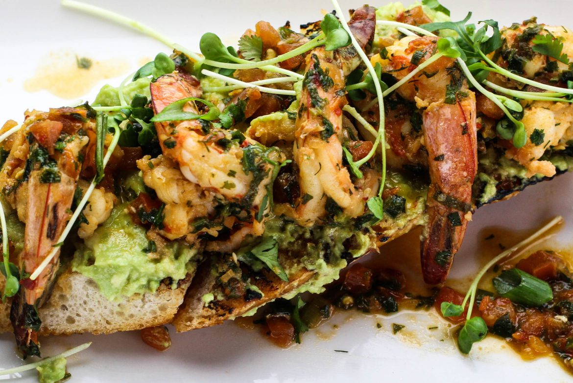 Garlic-Chili Prawns with Tomato, Cilantro, Lime, Crushed Avocado, Grilled Baguette