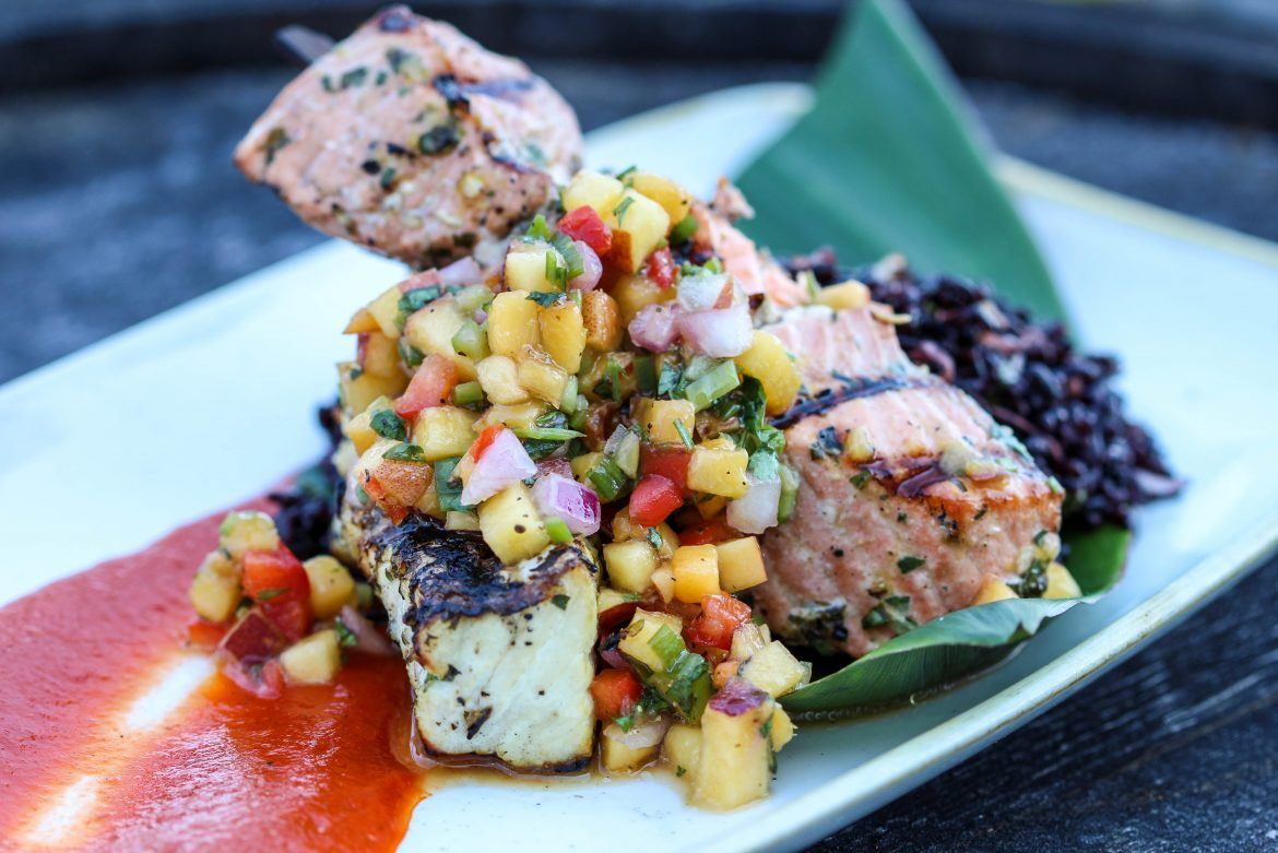 King Salmon and Halibut Brochette local stone fruit salsa and smoked pepper coulis