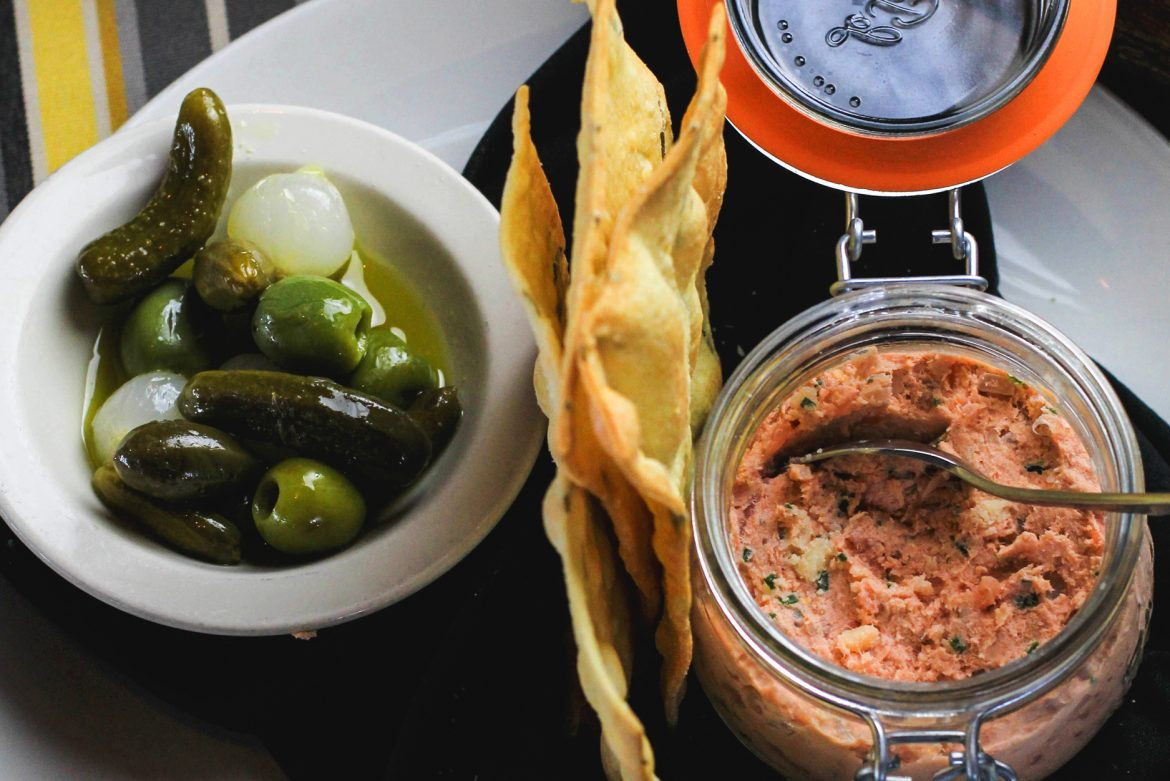 Smoked Salmon Rillette with gherkin, pickled onion, caper berries, rosemary crackers
