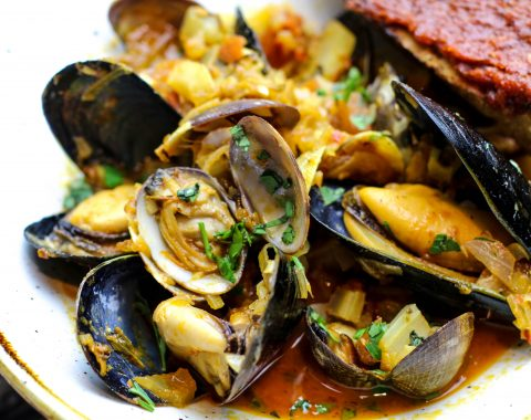 Harissa Clams and Mussels