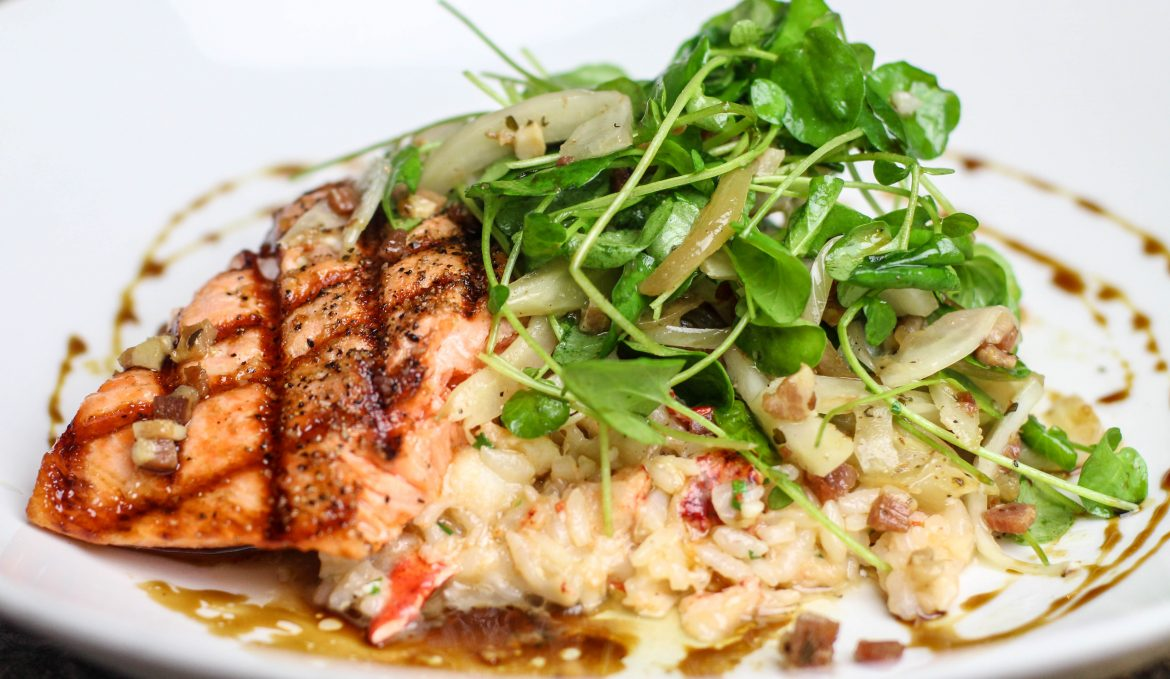 Grilled King Salmon & Lobster Risotto
