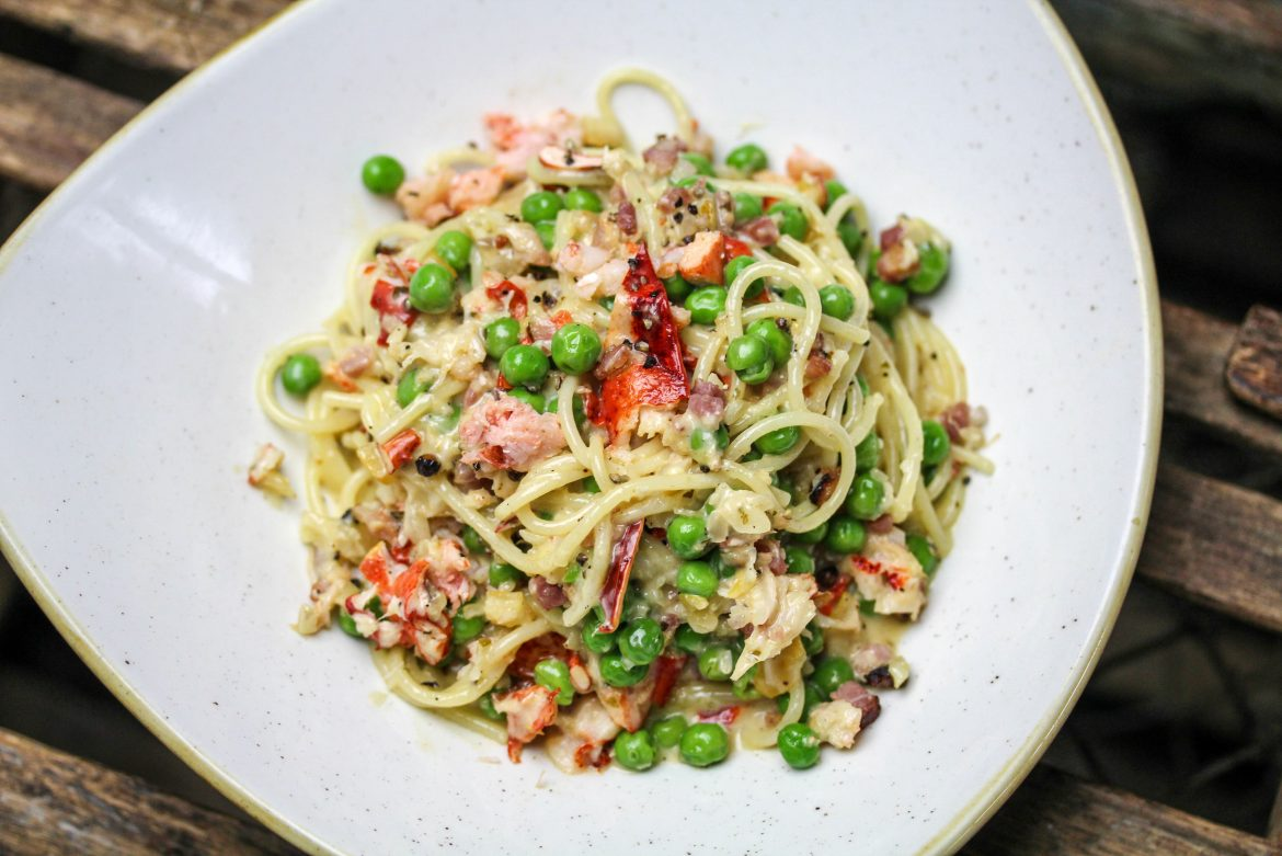 Lobster Carbonara with Spaghetti, Pancetta, English Peas, Parmesan
