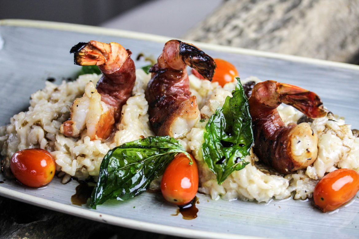 Prawn Saltimbocca with Roasted Forest Mushroom Risotto, Olive Oil-Cured Tomato