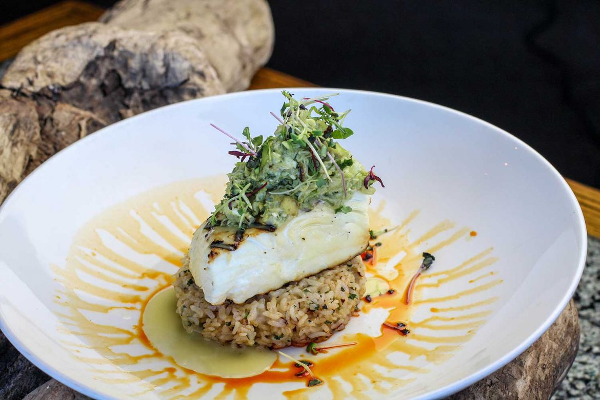 Grilled Halibut with Dungeness Crab