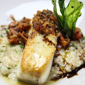 Halibut Provencal, Lemon Risotto, Aged Balsamic