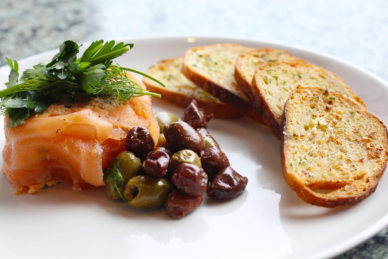 Salmon Mousse Garlic Herb Crostini, Mezze Mix