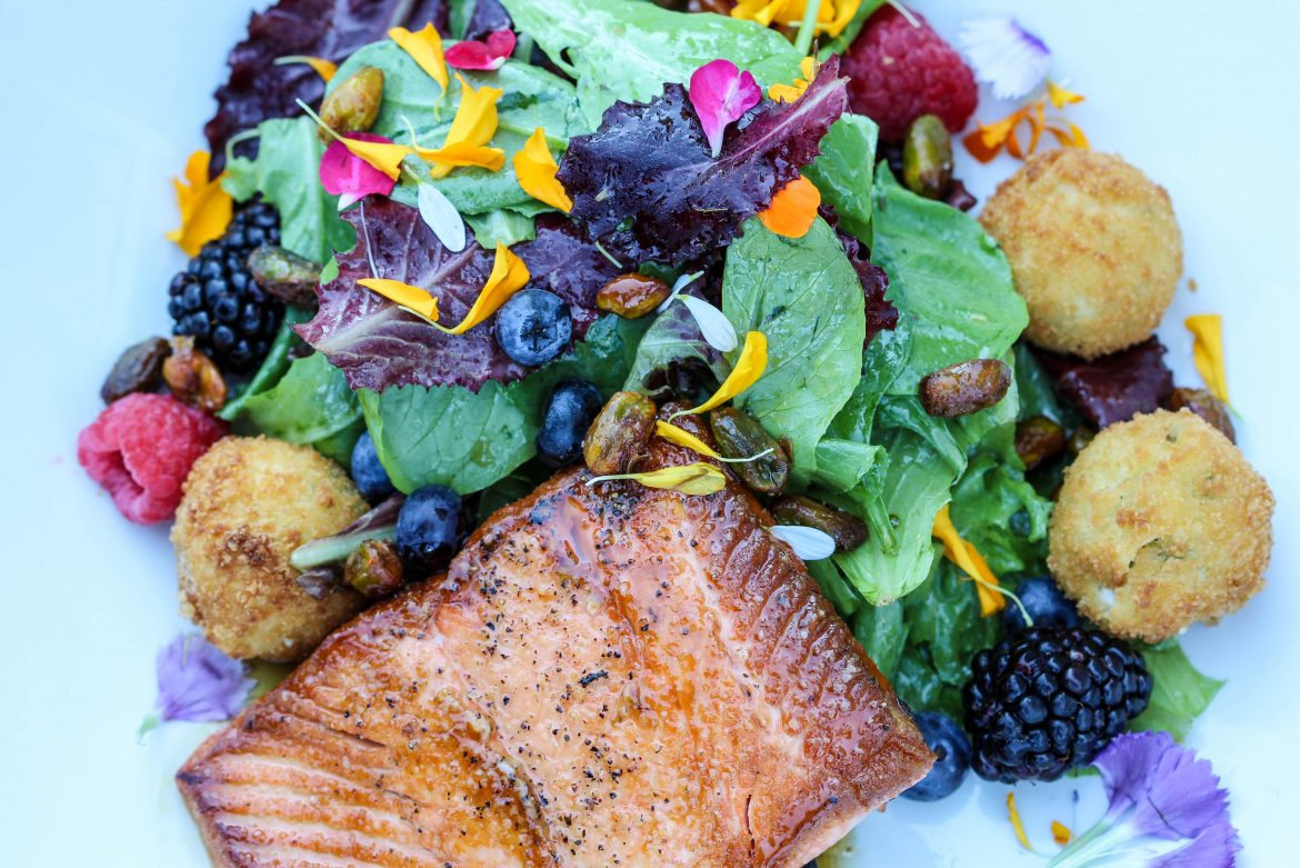Lavender Honey Salmon mixed greens, summer berries, spiced pistachios, chevre, sherry vinaigrette