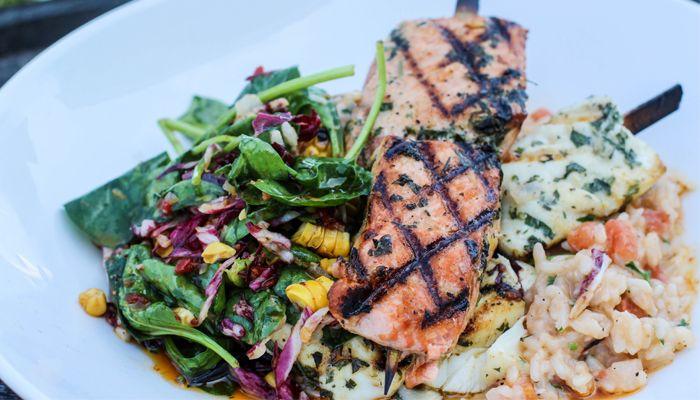 Salmon and Halibut Brochette